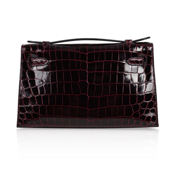 ce6a76c73e8 ... Hermes Kelly Pochette Clutch Bag Bordeaux Crocodile Jewel Toned  Palladium - mightychic ...