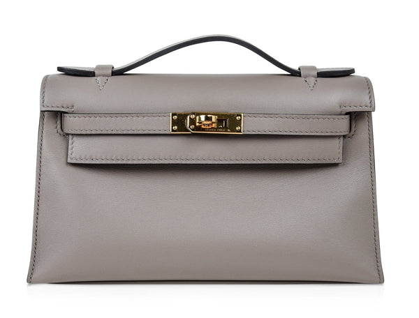 Hermes Kelly Pochette Gris Asphalte Swift Gold Hardware - mightychic