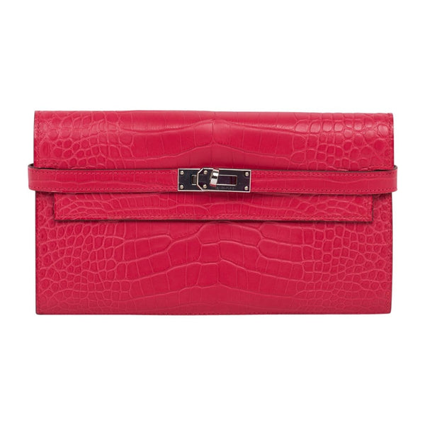 Hermes Kelly Classic Wallet / Clutch Rose Extreme Matte Alligator