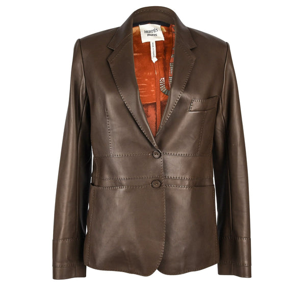 Hermes Jacket Brown Lambskin Leather Silk Print Interior Blazer 38 / 8 New
