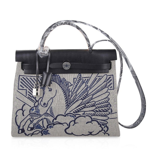 Hermes Herbag Zip Pegase Pop PM 31 Toile / Vache Hunter Leather Special Edition