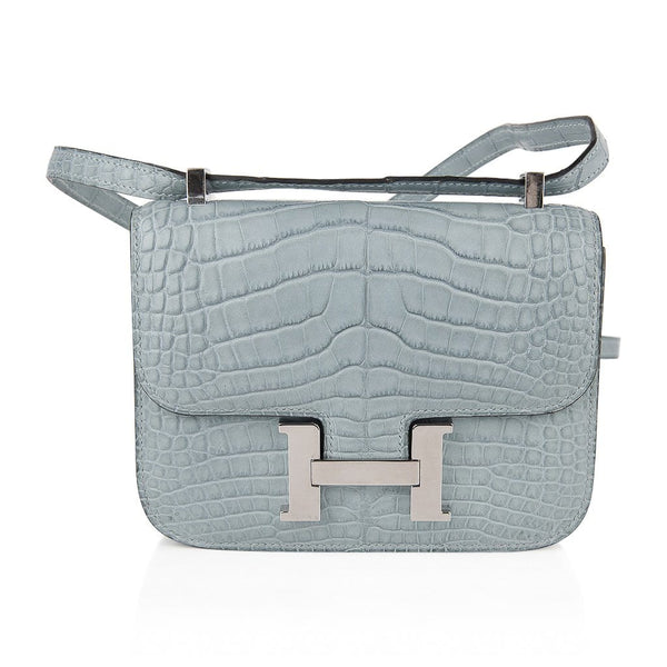 Hermes Micro Constance Bag Ciel Matte Alligator Hardware Limited Edition Rare