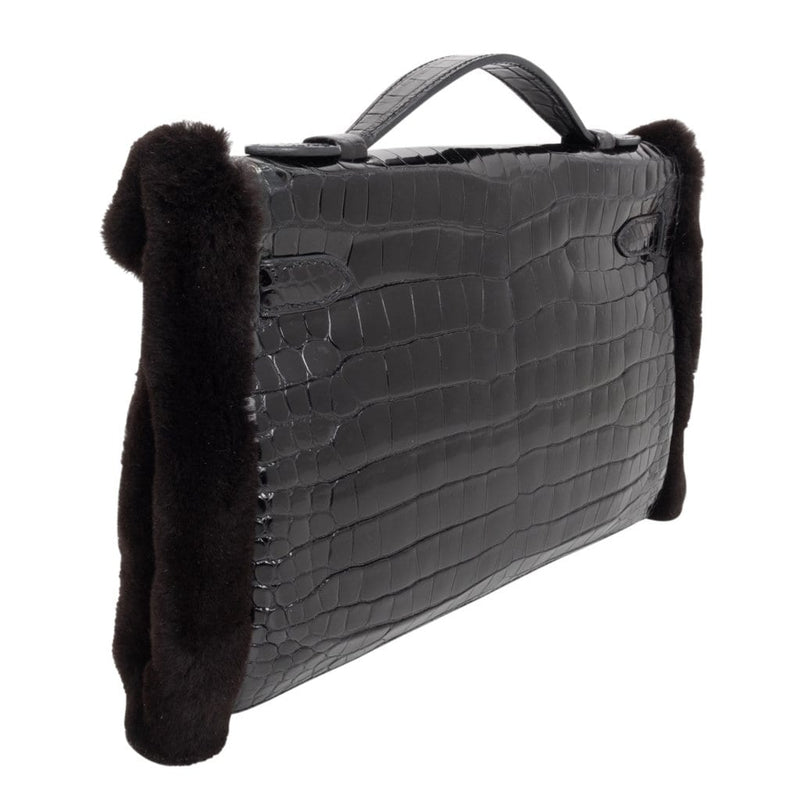 Hermes Kelly Manchon Black Mink and Porosus Crocodile Muff - mightychic
