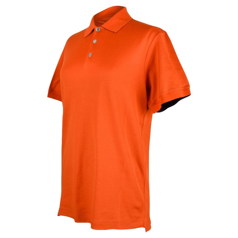 Hermes Men's Polo Style Orange Feu w/ Navy Edging Short Sleeve M New - mightychic