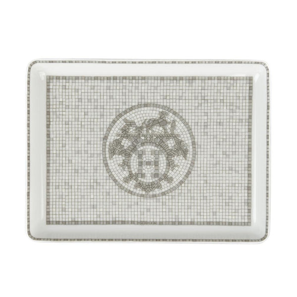 Hermes Sushi Plate Mosaique au 24 Platinum Tray Small Model Porcelain - mightychic