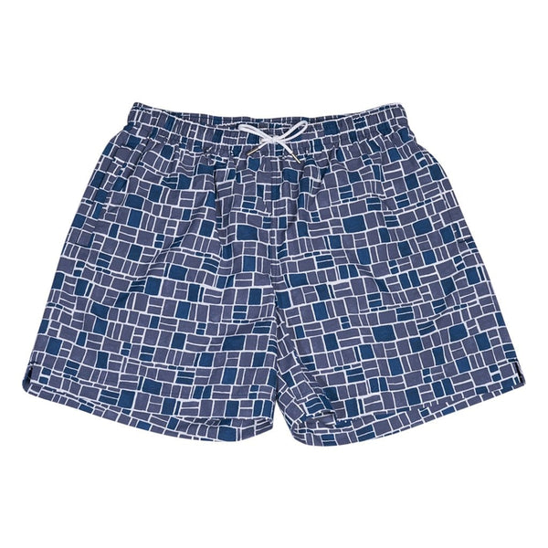 Hermes Men's Mosaique H Swim Trunks Blue L
