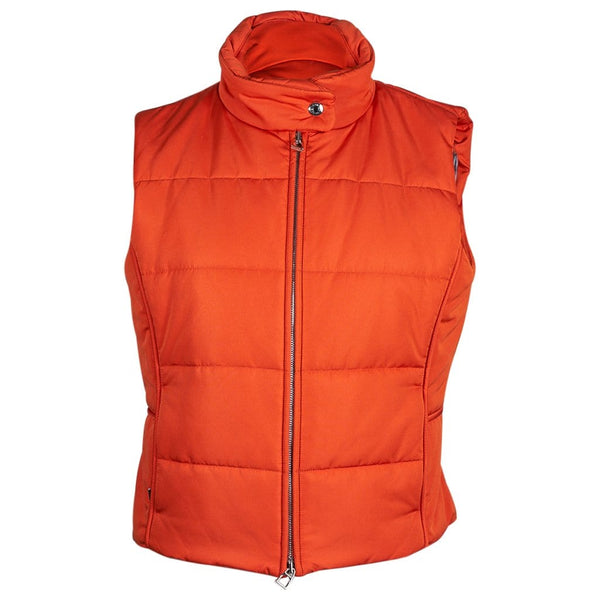 Hermes Unisex Sleeveless Orange Puffer Vest L New