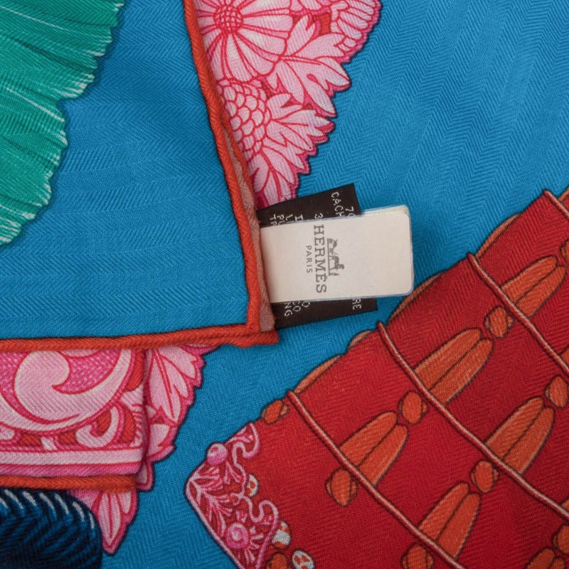 Hermes Shawl GM Parures de Samourais Cashmere Turquoise Orange Rose 140cm New - mightychic