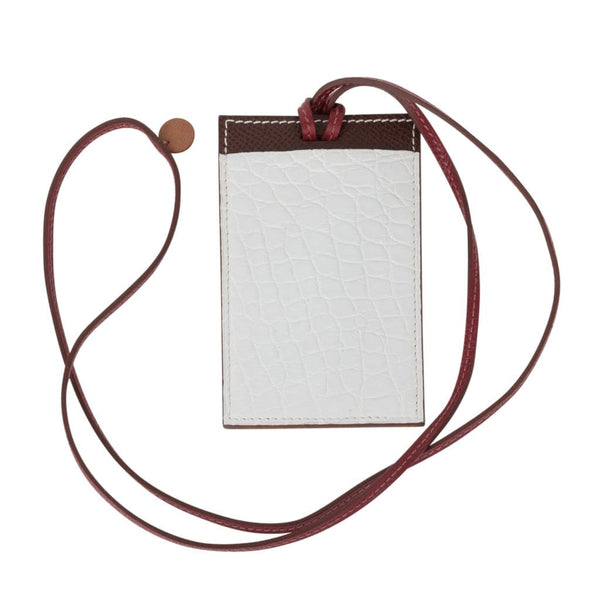 Hermes Lanyard Card Holder Necklace Nuage Porosus Crocodile Brown Epsom Petit h