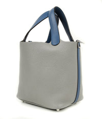 Hermes Picotin Lock Touch Bag 18cm Gris Mouette Blue Agate Limited Edition New - mightychic