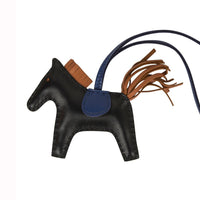 Hermes Rodeo PM Bag Charm Black/ Blue Sapphire / Gold