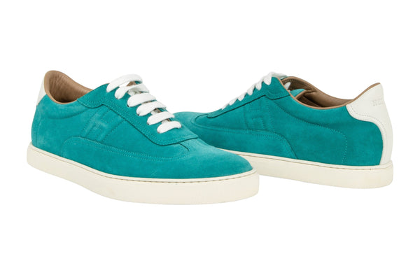 Hermes Shoe Men's Sneaker Peacock Blue Suede  42.5 - mightychic