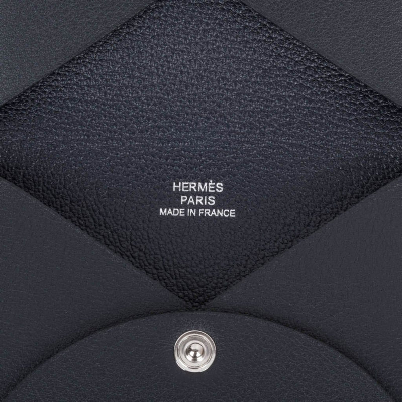 Hermes Robot Calvi Limited Edition Blue Indigo Swift Card Holder - mightychic