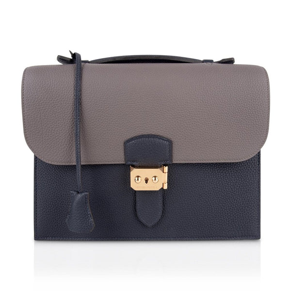 Hermes Sac A Depeche 27 Bag / Briefcase Limited Edition HSS Blue Nuit / Etain