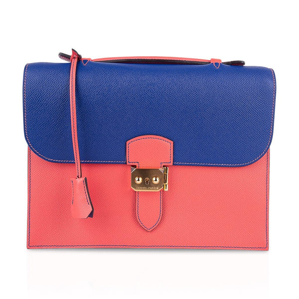 Hermes Sac a Depeche 27 Bag HSS Electric Blue / Rose Jaipur Epsom Gold