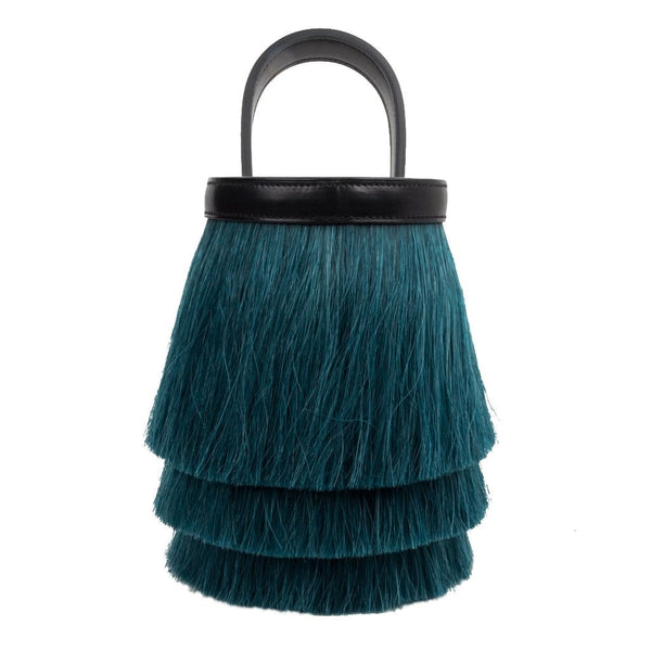 Hermes Toupet Bag Fringed Mini Bucket Horse Hair Vert Fonce Black Evercalf - mightychic