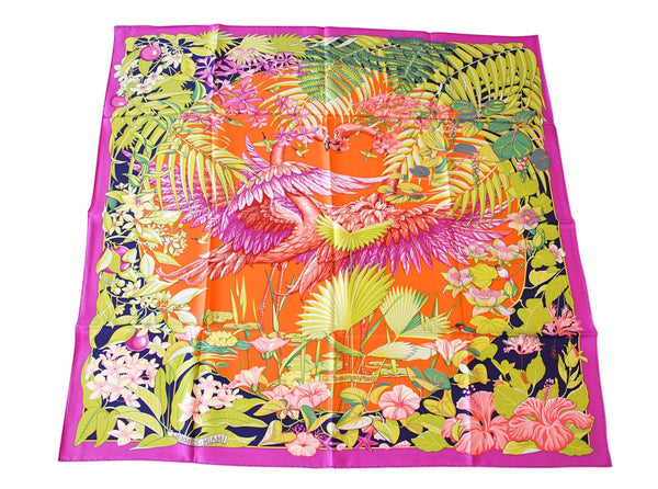 Hermes Scarf Flamingo Party Miami 90 cm Silk Limited Edition Pink Carre New w/ Box