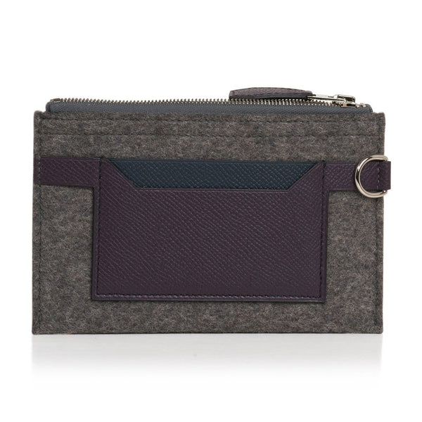 Hermes Toodoo Mini Colorblock Change Purse in Grey / Purple / Black New w/Box