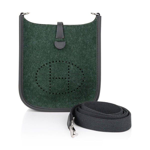 Hermes Evelyne TPM Bag Vert Anglais Feutre Vert Cypress Swift Leather Trim