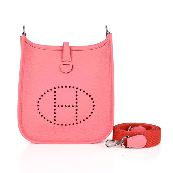 Hermes Evelyne TPM Bag Rose Azalee Crossbody Clemence Palladium NWT