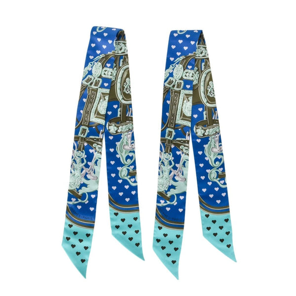 Hermes Twilly Silk Brides de Gala Love Limited Edition Blues Multi Set of 2 New