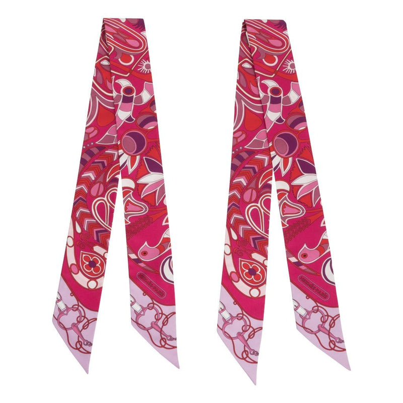 Hermes Twilly Folklore Fuchsia Rouge Rose Set of 2 New - mightychic