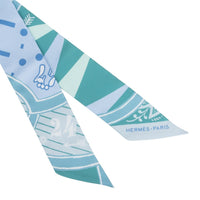 Hermes Twilly Jeu De Soie Aqua Celadon Ciel Set of 2 New - mightychic
