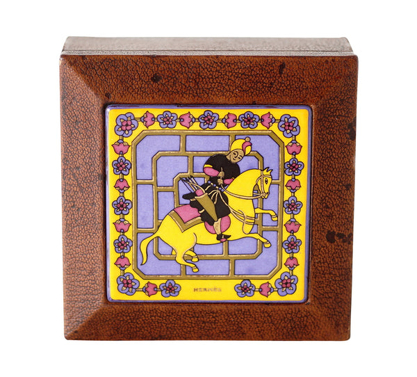 Hermes Vintage Decorative Leather Enamel Lid Horse and Rider Box