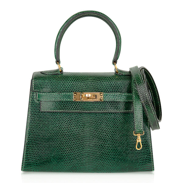 Hermes Vintage Kelly 20 Sellier Mini Vert Moyen Lizard Gold Hardware