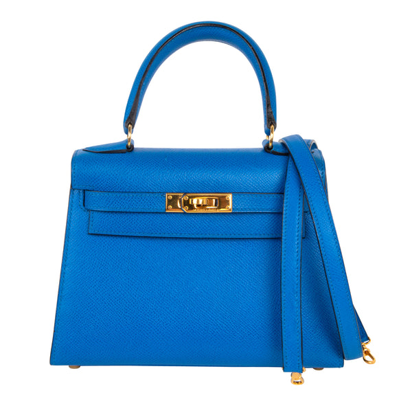 Hermes Vintage Kelly 20 Sellier Mini Blue de France Courchevel Gold Hardware