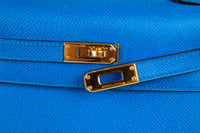 Hermes Vintage Kelly 20 Sellier Mini Blue de France Courchevel Gold Hardware - mightychic