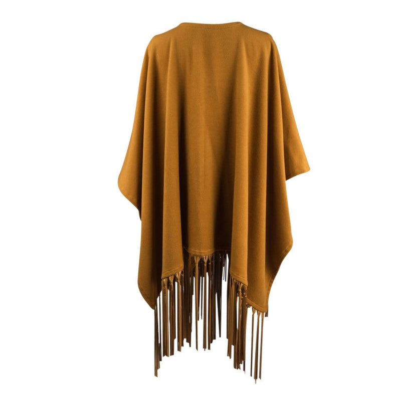 Hermes Scarf Shawl Lush Leather Fringe Poncho Style Cashmere and Wool Vintage - mightychic