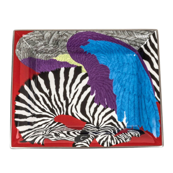 Hermes Change Tray Zebra Pegasus Limoges Porcelain Rare Print - mightychic