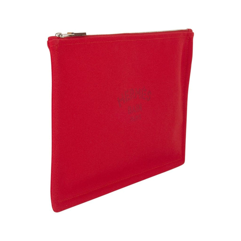 Hermes Bain Flat Yachting Pouch Case Red Cotton Large