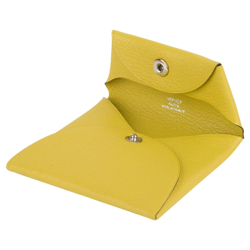 Hermes Bastia Change Purse Jaune de Naples Chevre Leather New