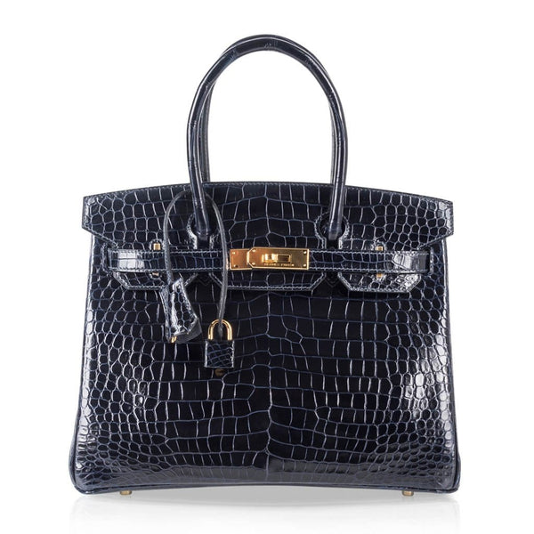 Hermes Birkin 30 Bag Blue Marine Porosus Crocodile Gold Hardware