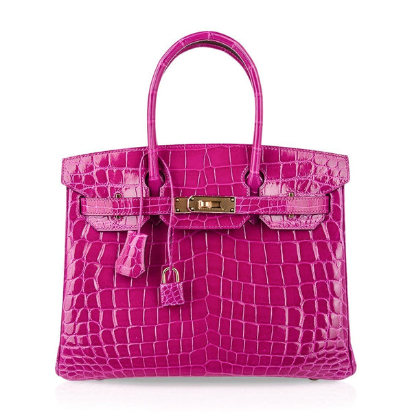Hermes Birkin 30 Bag Rose Scheherazade Pink Crocodile Gold Hardware