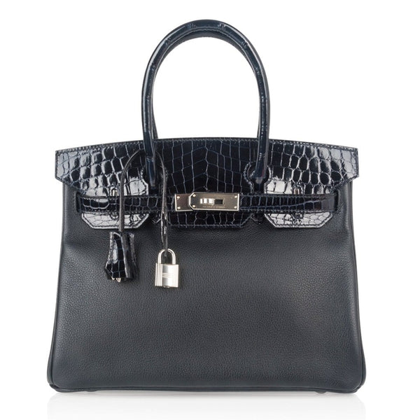 Hermes Birkin 30 Bag Touch Blue Marine Crocodile and Black Leather Palladium