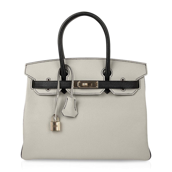 Hermes Birkin HSS 30 Bag Gris Perle Black Chevre Leather Permabrass Hardware