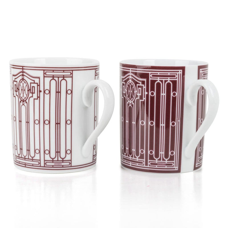 Hermes H Deco Mugs White with Rouge Porcelain Set of 2 New w/Box