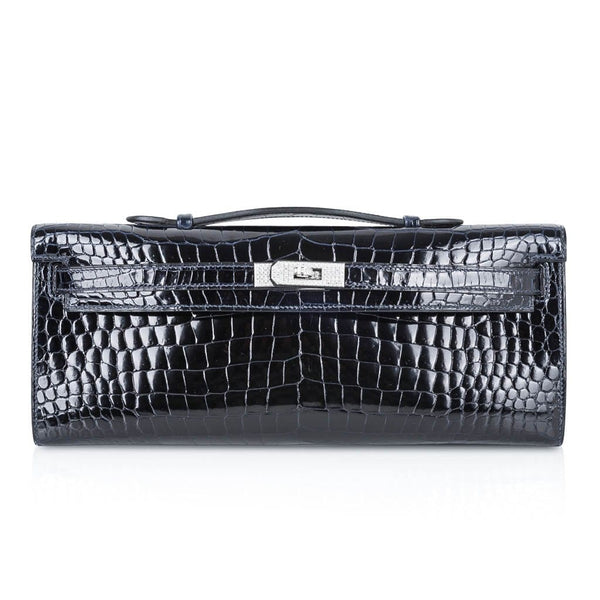 Hermes Kelly Cut Diamond Blue Marine Crocodile Bag Exquisite Clutch