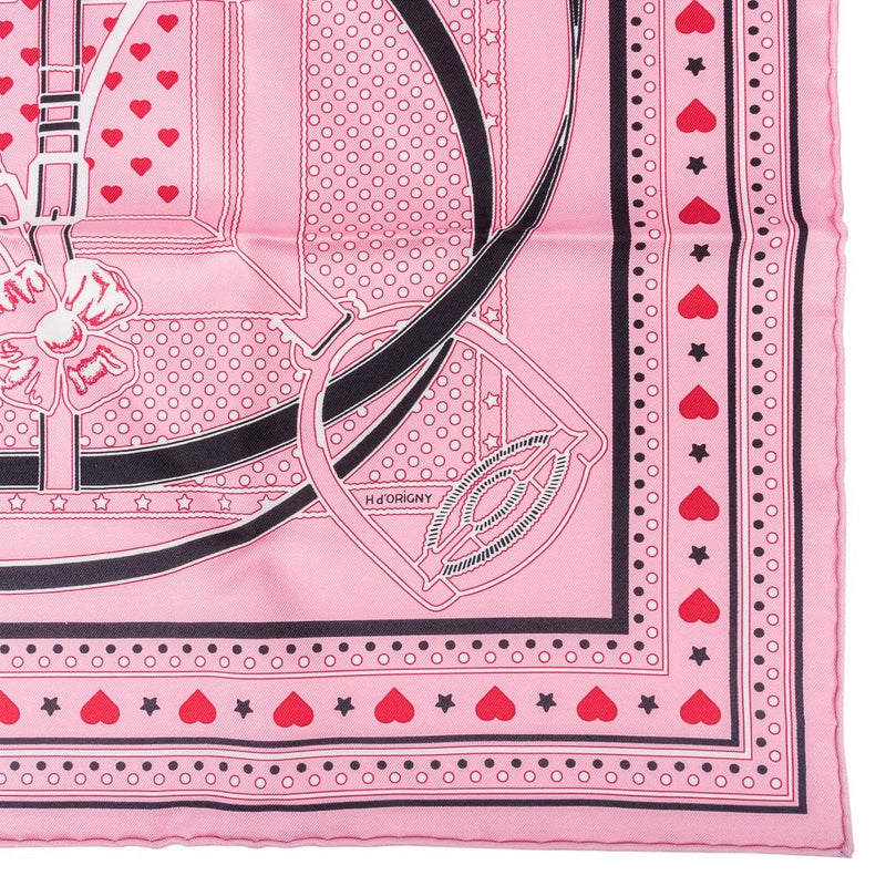 Hermes Scarf Grand Manege Bandana Love 70 Rouge Rose Noir Silk Twill Heart Box
