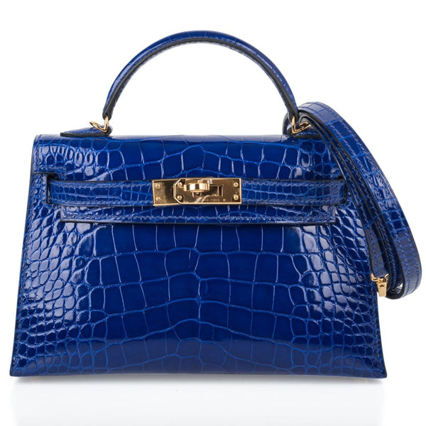 Hermes Kelly 20 Sellier Mini Blue Electric Alligator Gold Hardware Limited