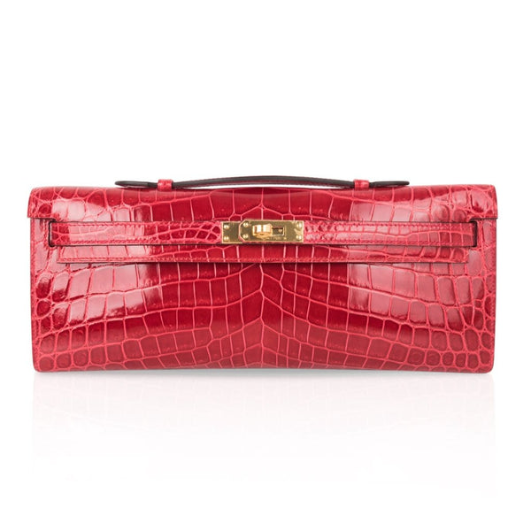 Hermes Kelly Cut Bag Braise Crocodile Gold Hardware Clutch