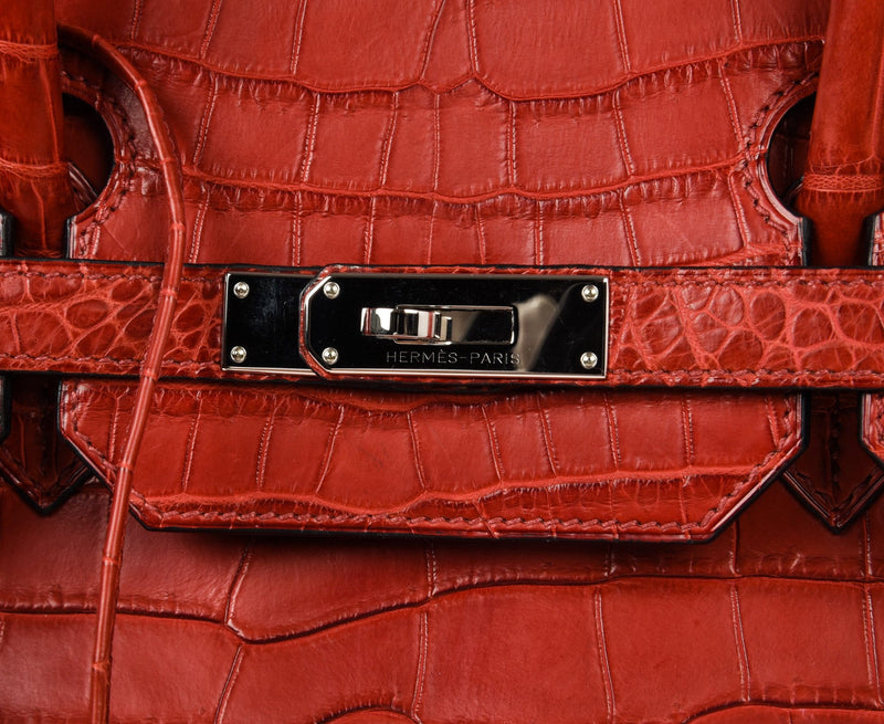 Hermes Birkin 40 Bag Rouge Red Matte Porosus Crocodile Palladium - mightychic
