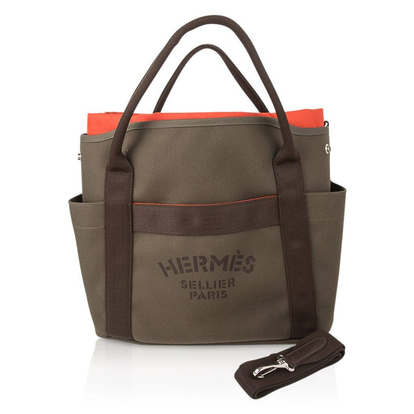Hermes Tote Sac de Pansage Groom Boot and Helmet Bag Khaki / Feu New