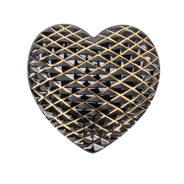 Hermes St. Louis Crystal Paperweight Grey (Quilted) Heart 24K Gold Detail