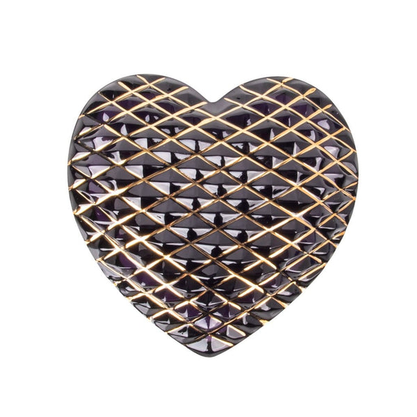 Hermes St. Louis Crystal Purple Paperweight (Quilted) Heart 24K Gold Detail
