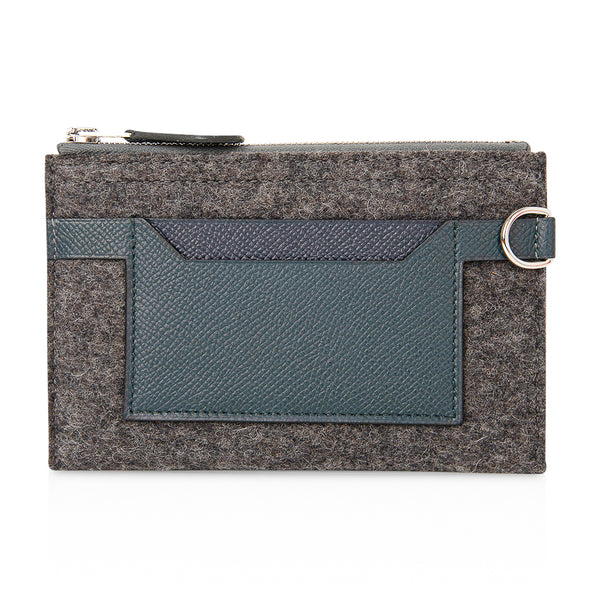 Toodoo Mini Colorblock Change Purse Gray Felt / Vert Cypress / Indigo
