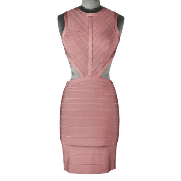 Herve Leger Dress Bandage Cutout Waist and Rear Dusty Pink XS nwt